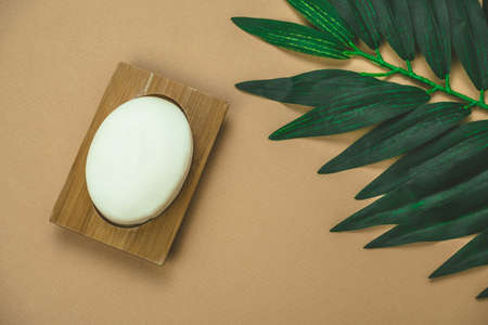 top view flat lay blank white soap mock up with pal leaf beige background