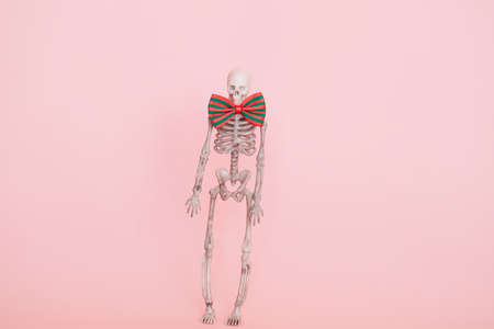 human skeleton wearing bow tie isolated on a soft pink background