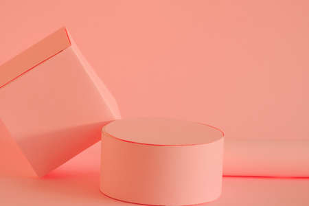 pastel pink mock up empty podium for product placement