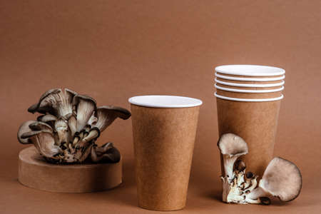 minimal trendy still life with oyster mushrooms and disposable cups made from mushrooms on a brown background.