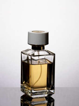 Perfume bottle poster. Beauty care concept. Banco de Imagens