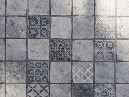 Square grungy ceramic tiles for a background Banco de Imagens