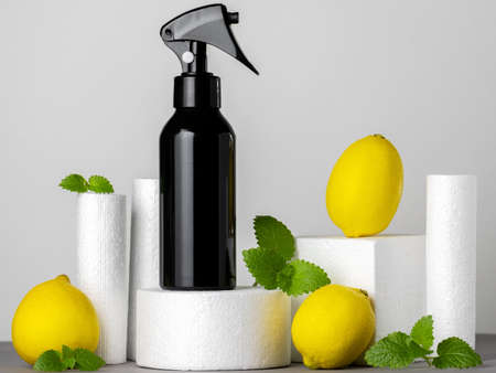 Mock up blank sprayer on a product stand with lemon and mint leaves gray background Stock Photo