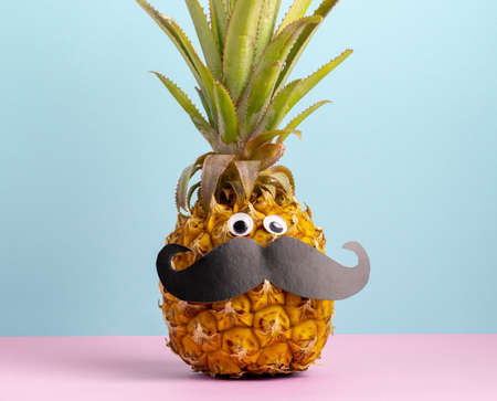 Cute pineapple with googly eyes and mustache pink blue background summer poster