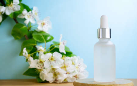Blank transparent beauty serum dropper on a blue background with blooming apple tree branch. Beauty care concept, selective focus.