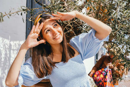 Positive summer lifestyle caucasian woman portrait. Stock fotó