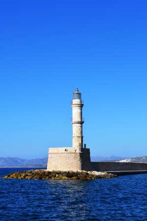 Greece, island Crete, the lighthouse, the Mediterranean sea, sky;