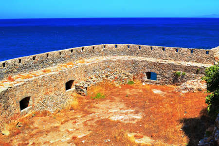 the island of Spinalonga  leper colony, the fortress pirate Barbaros Stock Photo