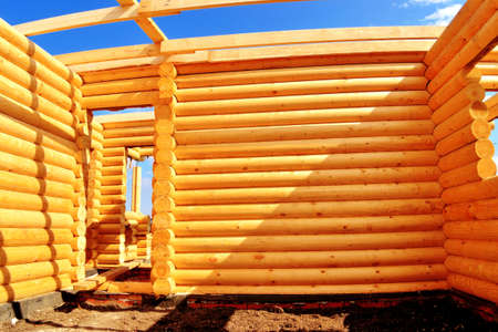 log house, wooden frame, construction, eco-friendly house photo