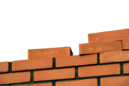 masonry-brick walls on a building site, construction of cottages