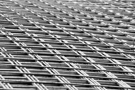 working stiff: welded mesh of steel reinforcement for concrete Stock Photo