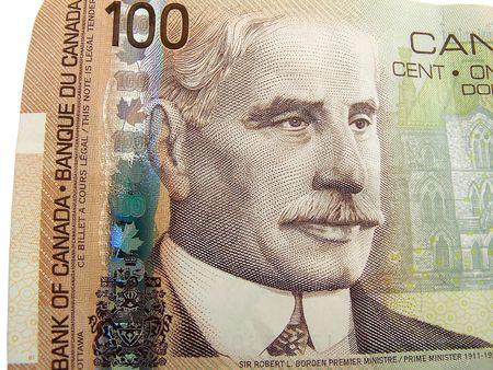 canadian currency: Canadian 100 dollar bill