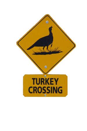 Turkey crossing sign Stock Photo