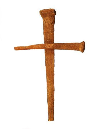 sacrifices: Rusty nail cross Stock Photo
