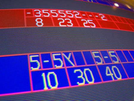 closeup of electronic bowling score screen
