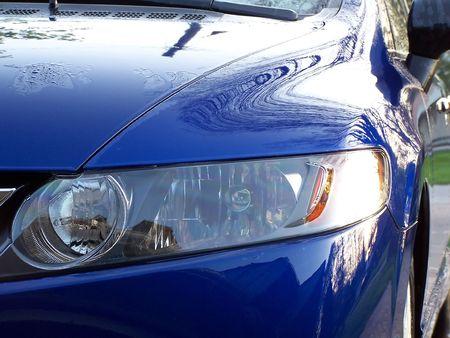 car wash: hood of blue car