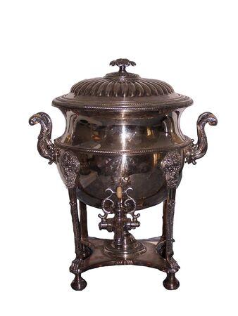 Isolation of ornate silver Antique Tea Pot
