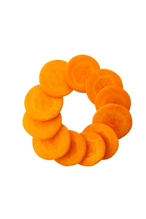 Slices of healthy orange carrot arranged in circle shape Stock Photo