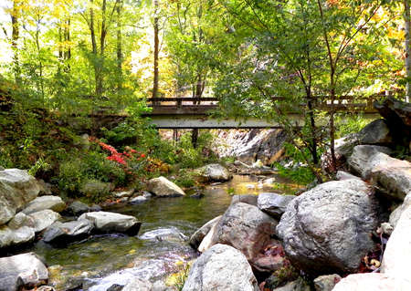 nc: Bridge crossing river near Linville Caverns in NC mountains.