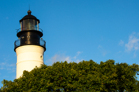 antique lighthouse with sky in florida keys Archivio Fotografico