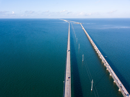 Aerial drone photography of Seven Mile Bridge on the way to Key West Florida. Фото со стока