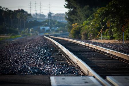 train tracks converging around corner in carlsbad california