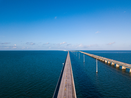 Aerial drone photgraph of Seven Mile bridge near Marathon, Florida