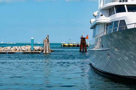 white superyacht docked at key west bight marina in key west florida Редакционное