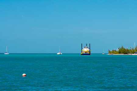 scenic view of sail boats anchored in key west florida Фото со стока