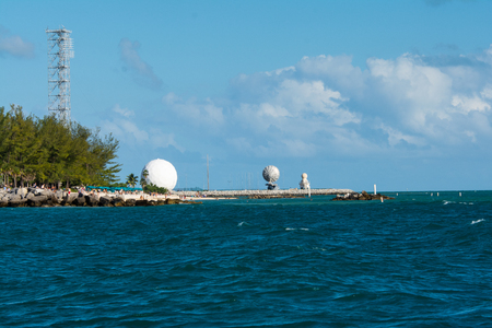white communication dome and radio towers on whithead spit in key west florida Редакционное
