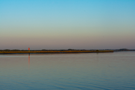 panoramic image of the intercoastal waterway in northern florida in the twilight hours of the day Фото со стока