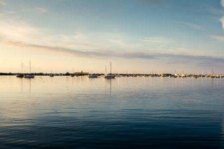 sailboats and motorboats anchored in the garrison bight mooring field in key west florida