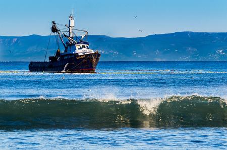 fishing trawler in the bay near ensenada mexico