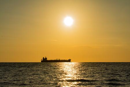tanker vessel silhoute on ocean Banco de Imagens