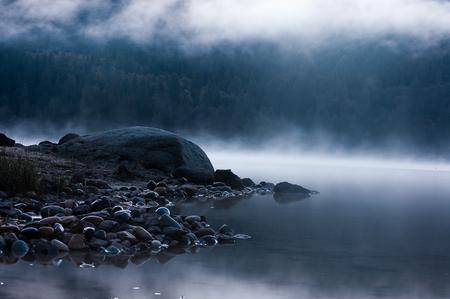 misty morning at bass lake in california