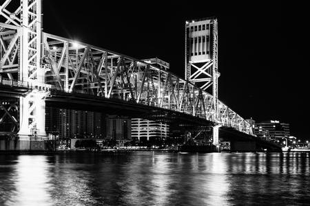 Black and white main street bridge over st johns river