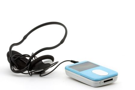 blue mp3 player with headphones on a white background photo