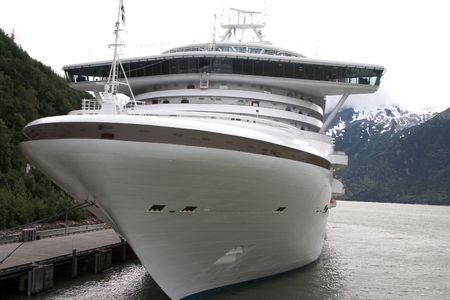 Cruise ship at port in Alaska on a cloudy day photo