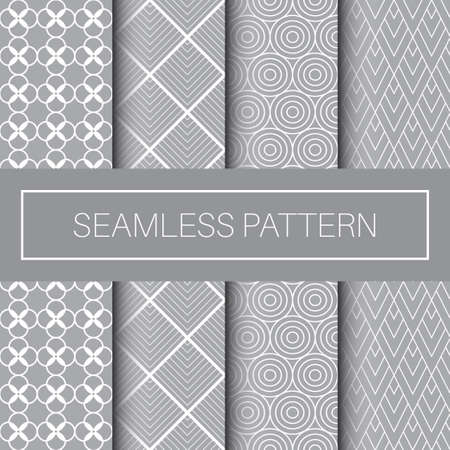 Seamless Geometric Pattern Tile Collection in Monochrome Color Vettoriali