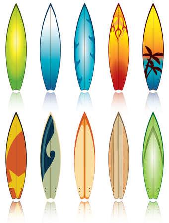 Una serie di tavole da surf con disegni diversi, in file vettoriale modificabile.  Vettoriali
