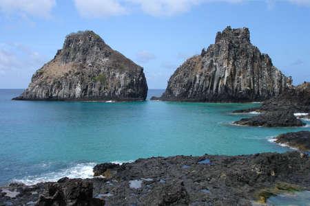 The Pigs Bay in Fernando de Noronha, a paradisiac island off the coast of Brazil. Stock Photo
