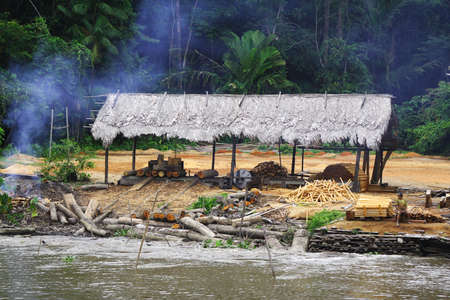 rio amazonas: �Esta choza fue encontrada en el borde del r�o de Amazon y se utiliza como un almacenaje y lugar del proceso para reducir los �rboles! Foto de archivo