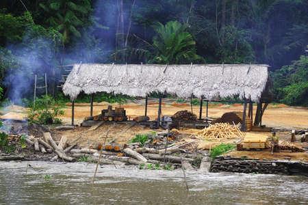 Questa capanna � stata trovata sul bordo del fiume del Amazon ed � usata come un immagazzinaggio e posto di elaborazione per ridurre gli alberi!