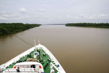 A cruise ship in the Amazon River, Brazil.