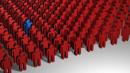 A 3D image of lines of little red people with on standing out from the crowd. Stock Photo
