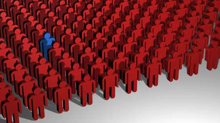 Una immagine 3D di linee di poco le persone con il rosso in piedi fuori dalla folla.