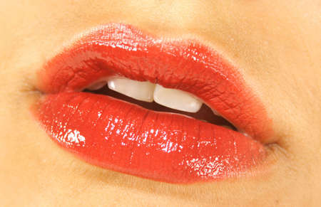 be kissed: The perfect red lips, waiting to be kissed! Stock Photo