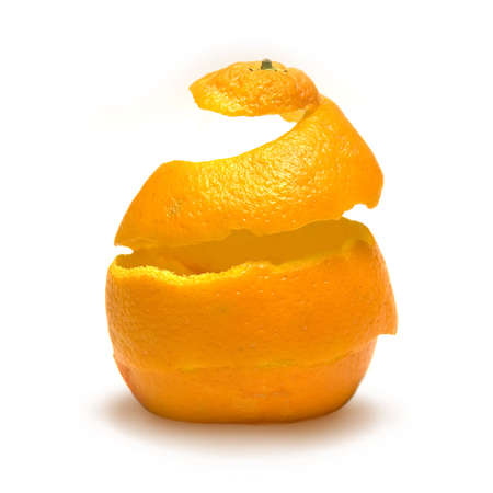 An orange peel being reconstructed! Stock Photo