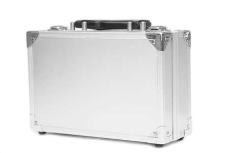 A hard metal case with plain sides, isolated on a white background.