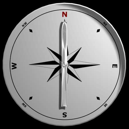 puntos cardinales: Un comp�s que se�ala al norte, aislado en un fondo negro. Foto de archivo